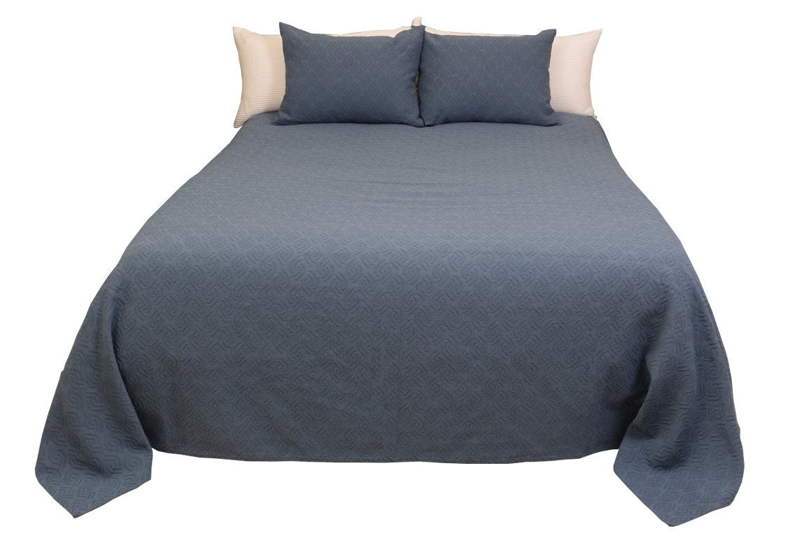 Rombos Blue Bedspread And Sham Bio Sleep Concept