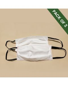 Cloth Washable Face Mask  Standard flat with pleats - White